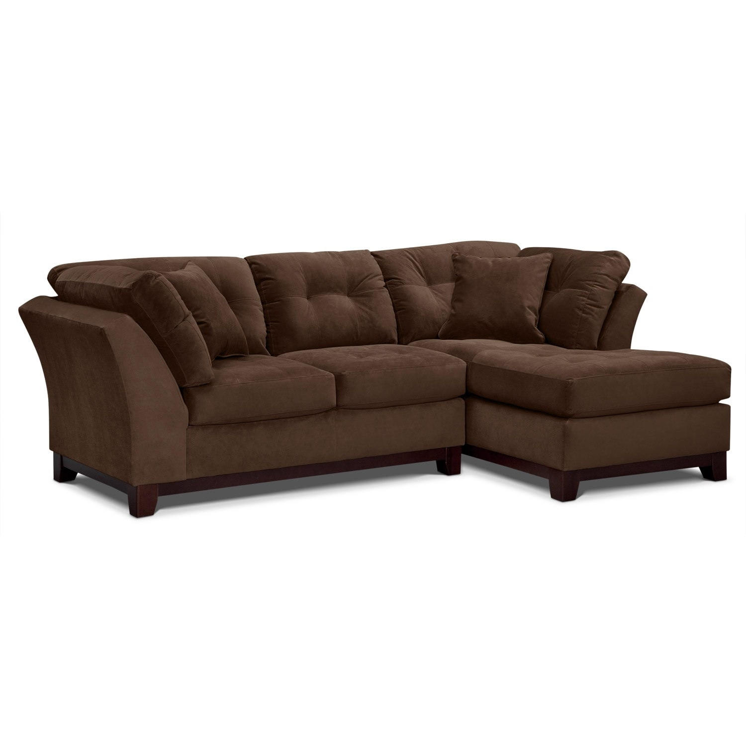 Solace 2-Piece Right-Facing Chaise Sectional - Chocolate