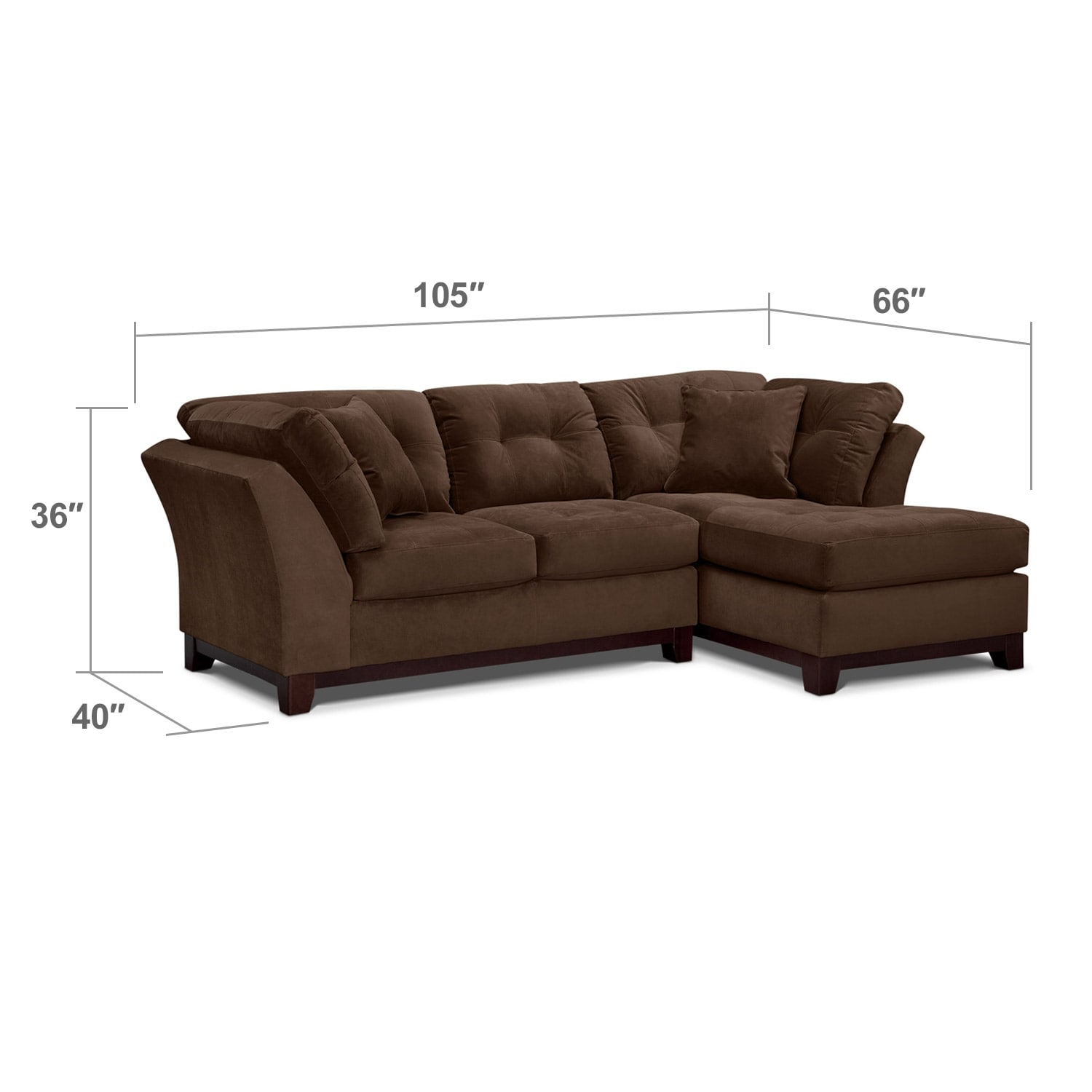 Living Room Furniture - Solace Chocolate II 2 Pc. Sectional (Alternate Reverse)