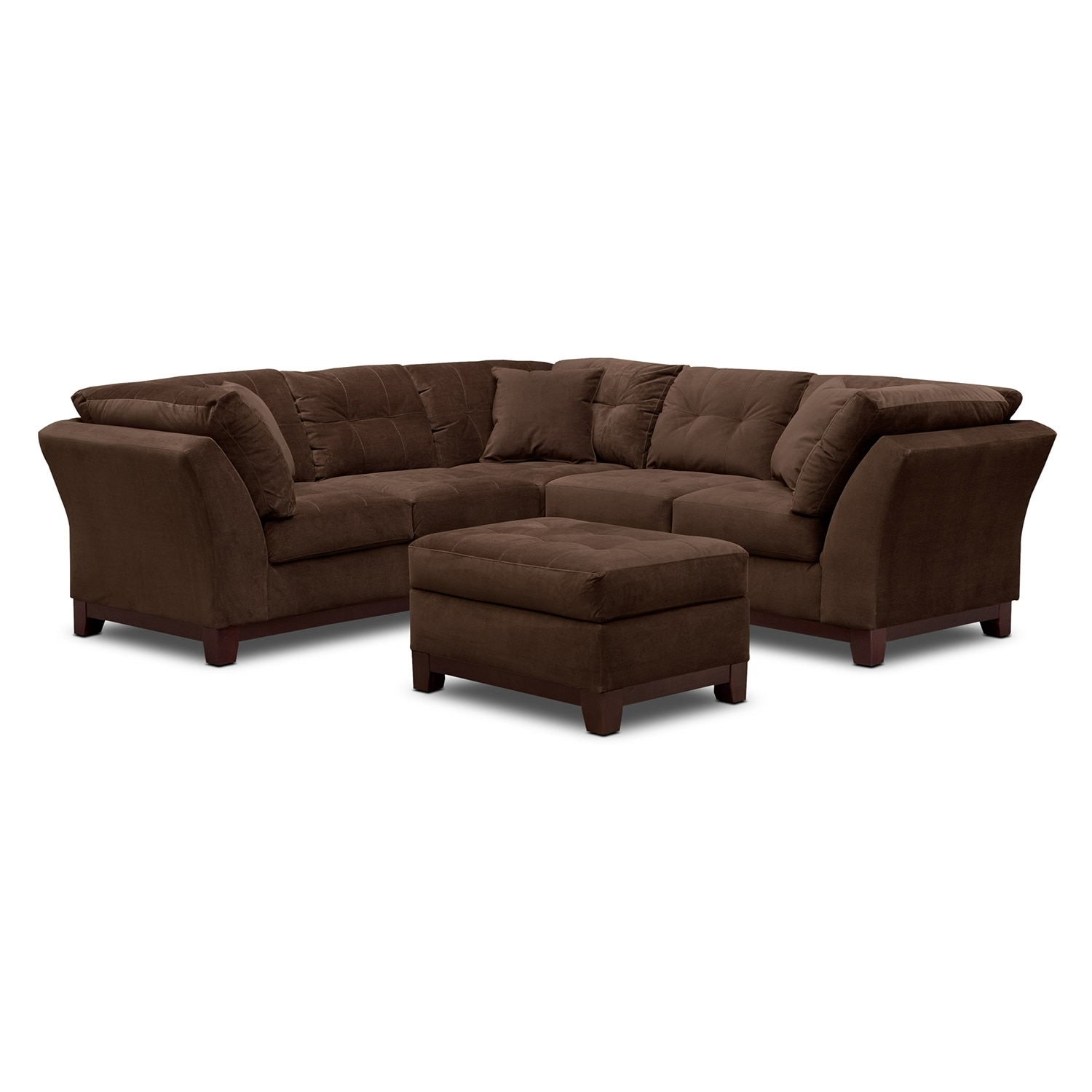 Living Room Furniture - Solace Chocolate II 2 Pc. Sectional (Alternate II Reverse) and Ottoman
