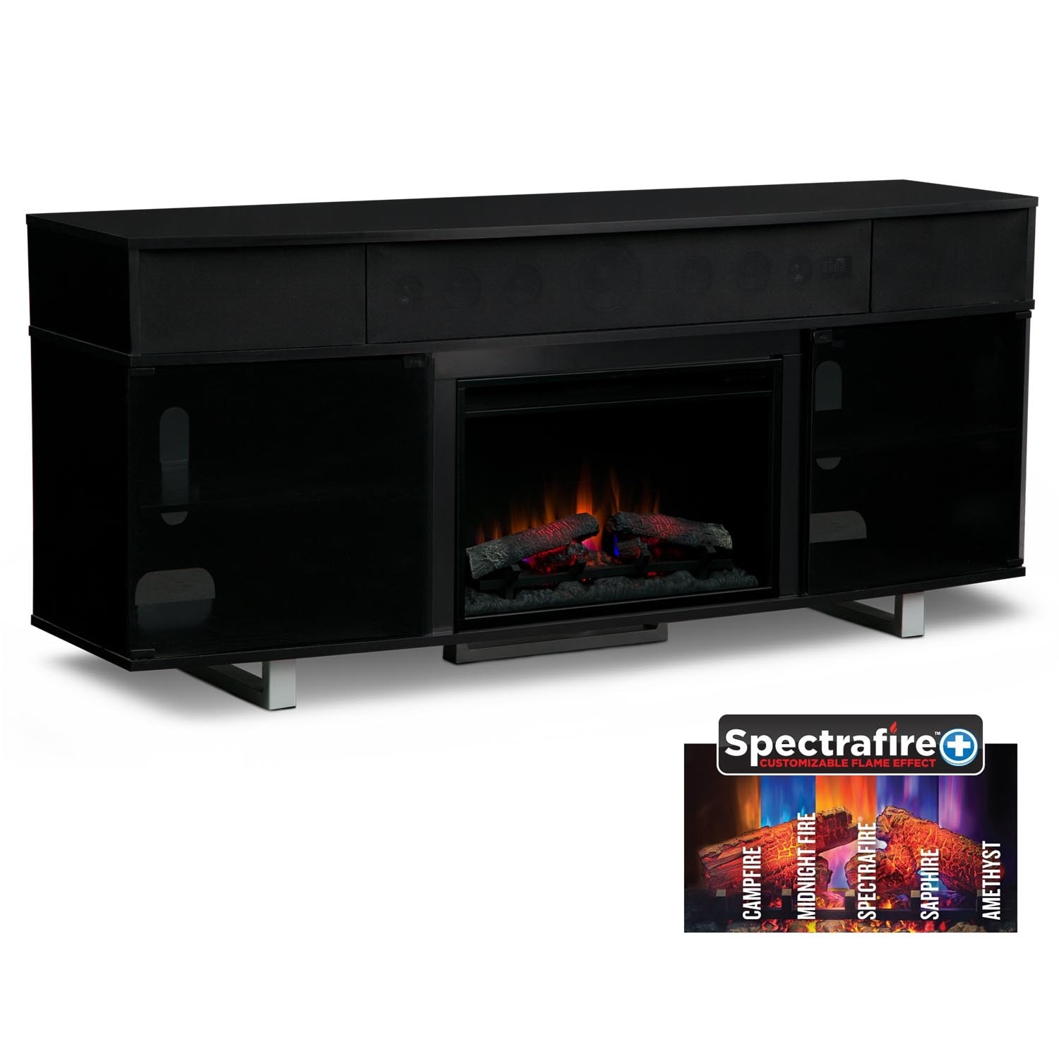 "Pacer 72"" Traditional Fireplace TV Stand with Sound Bar - Black"