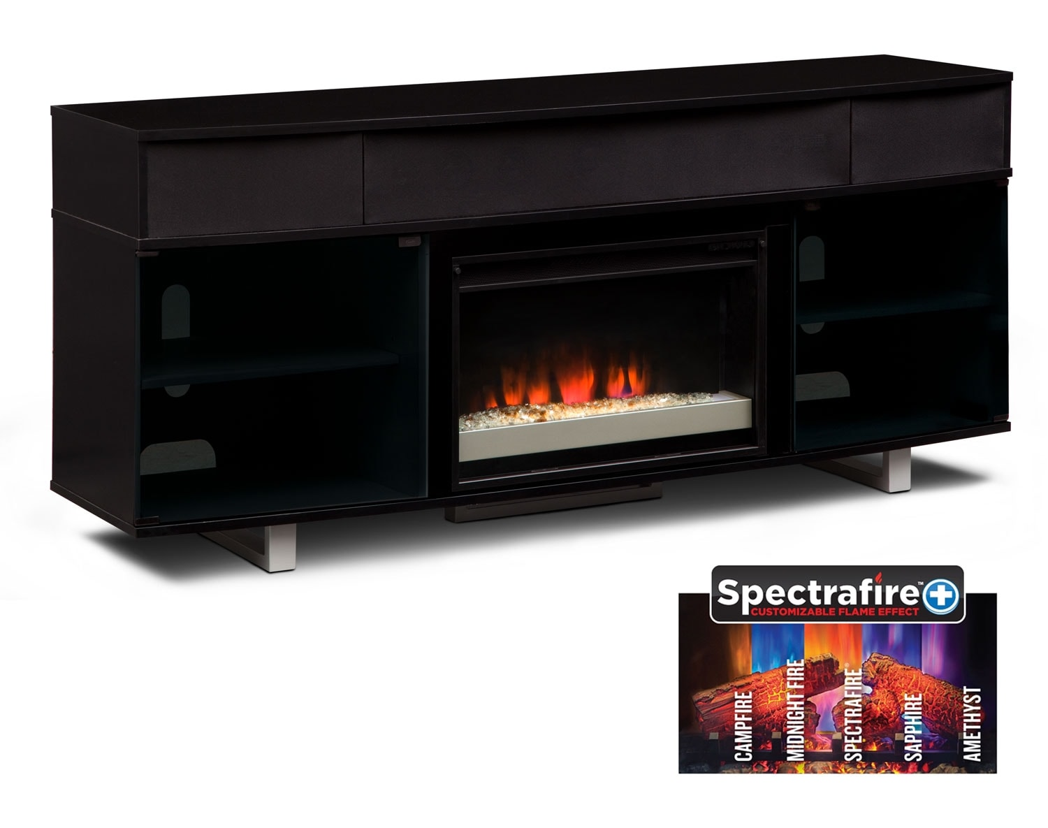 [The Pacer Media Fireplace Collection- Black]