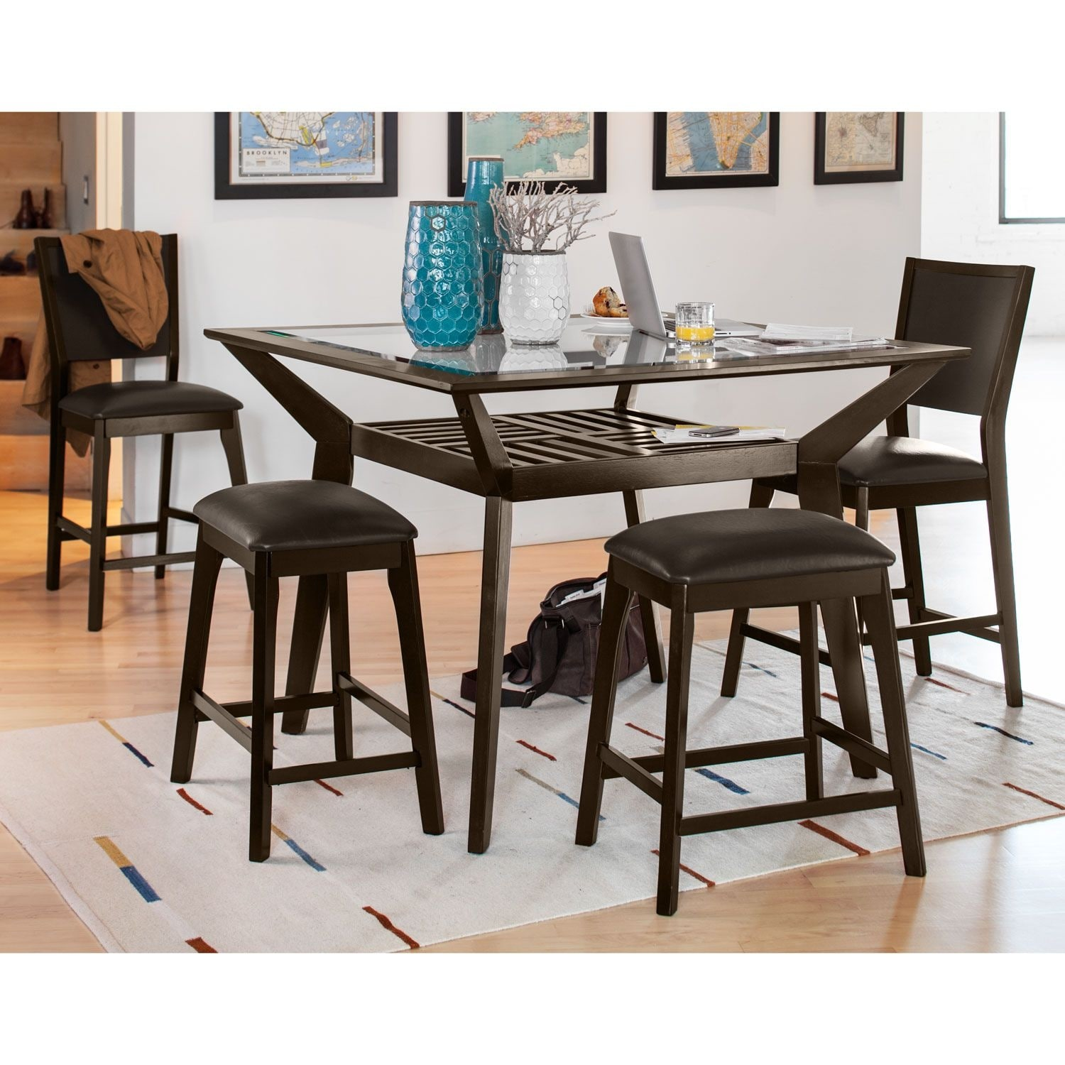 Mystic Counter Height Table 2 Chairs and 2 Backless Stools