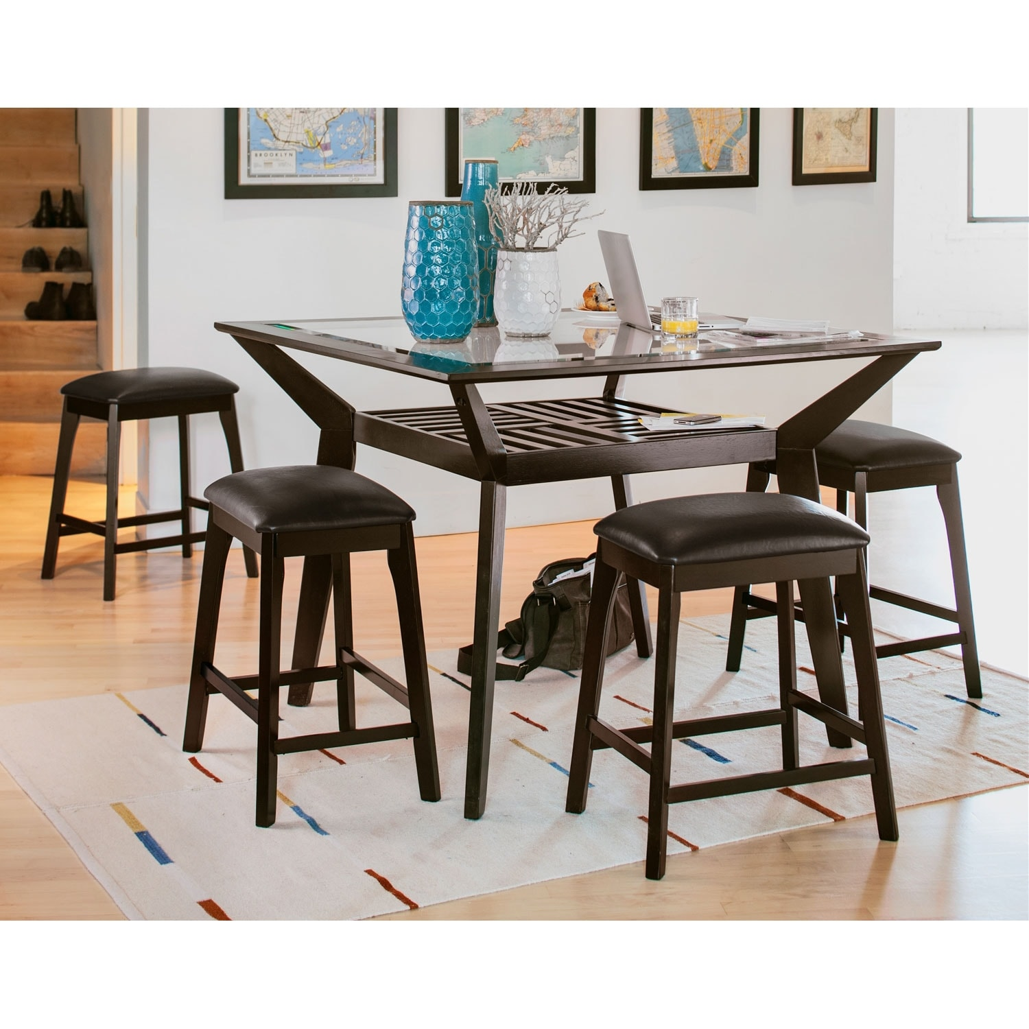 mystic counter-height dining table - merlot | value city furniture