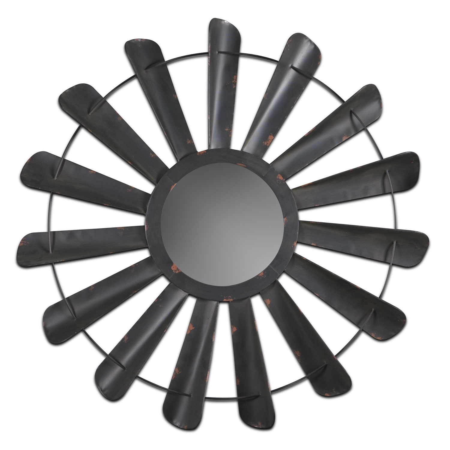 Accent and Occasional Furniture - Fan Blades Mirror - Vintage Antiqued Black