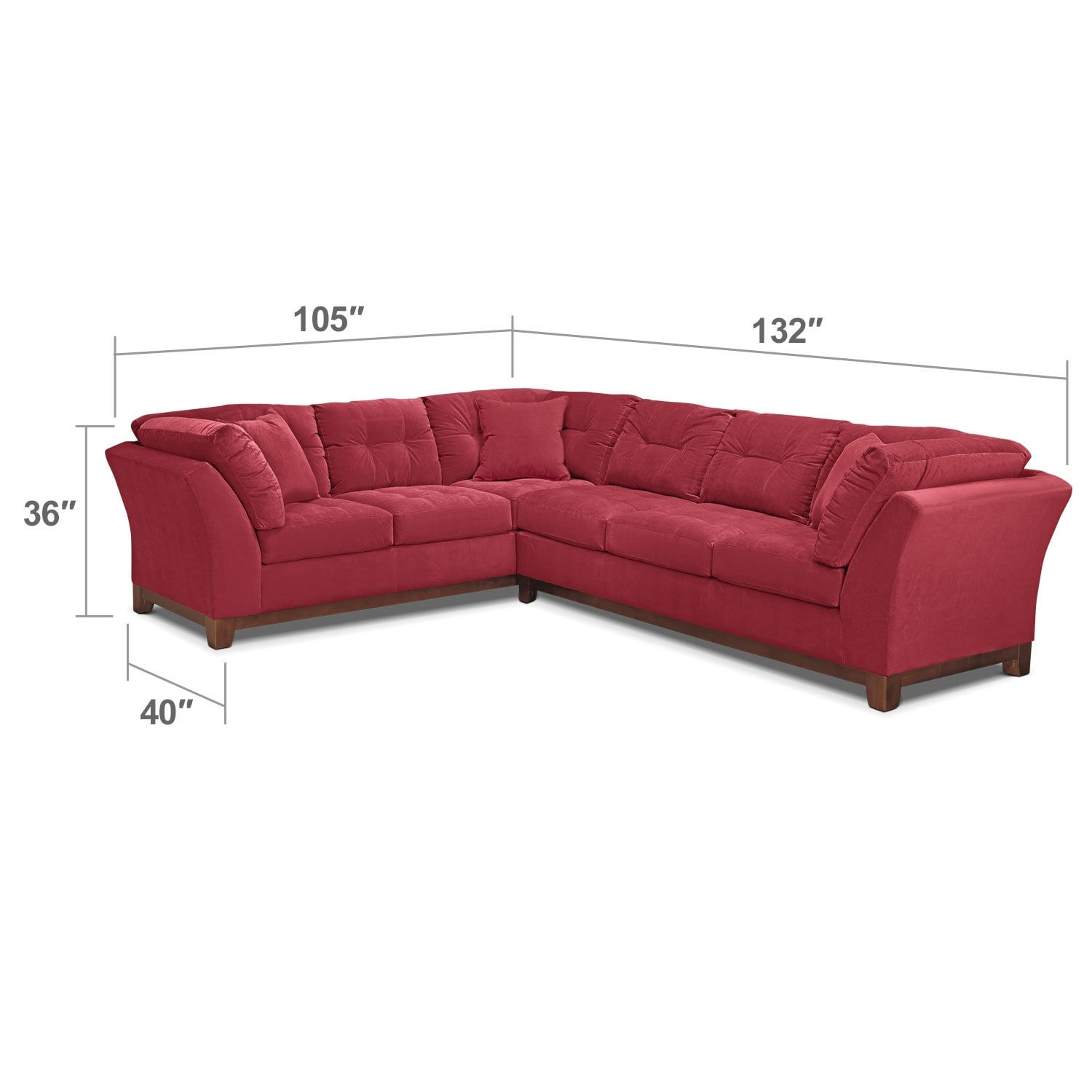 "Living Room Furniture - Solace 2-Piece Right-Facing 132"" Sofa Sectional - Poppy"