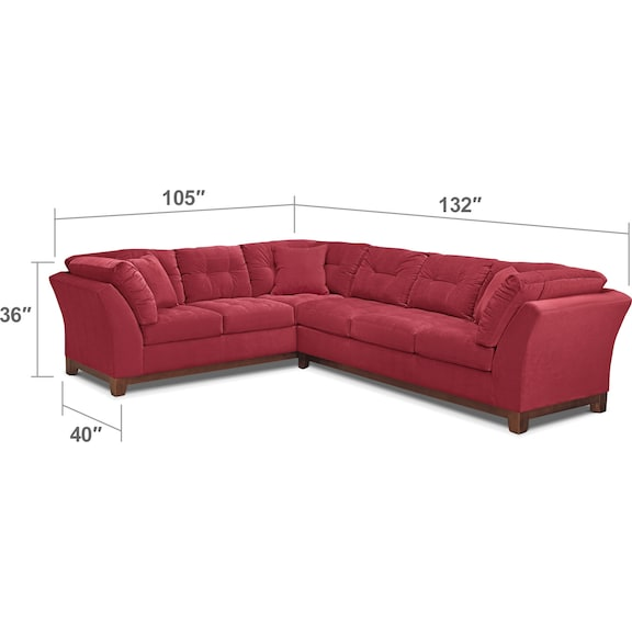 Living Room Furniture - Sebring 2-Piece Sectional with Right-Facing Sofa - Poppy