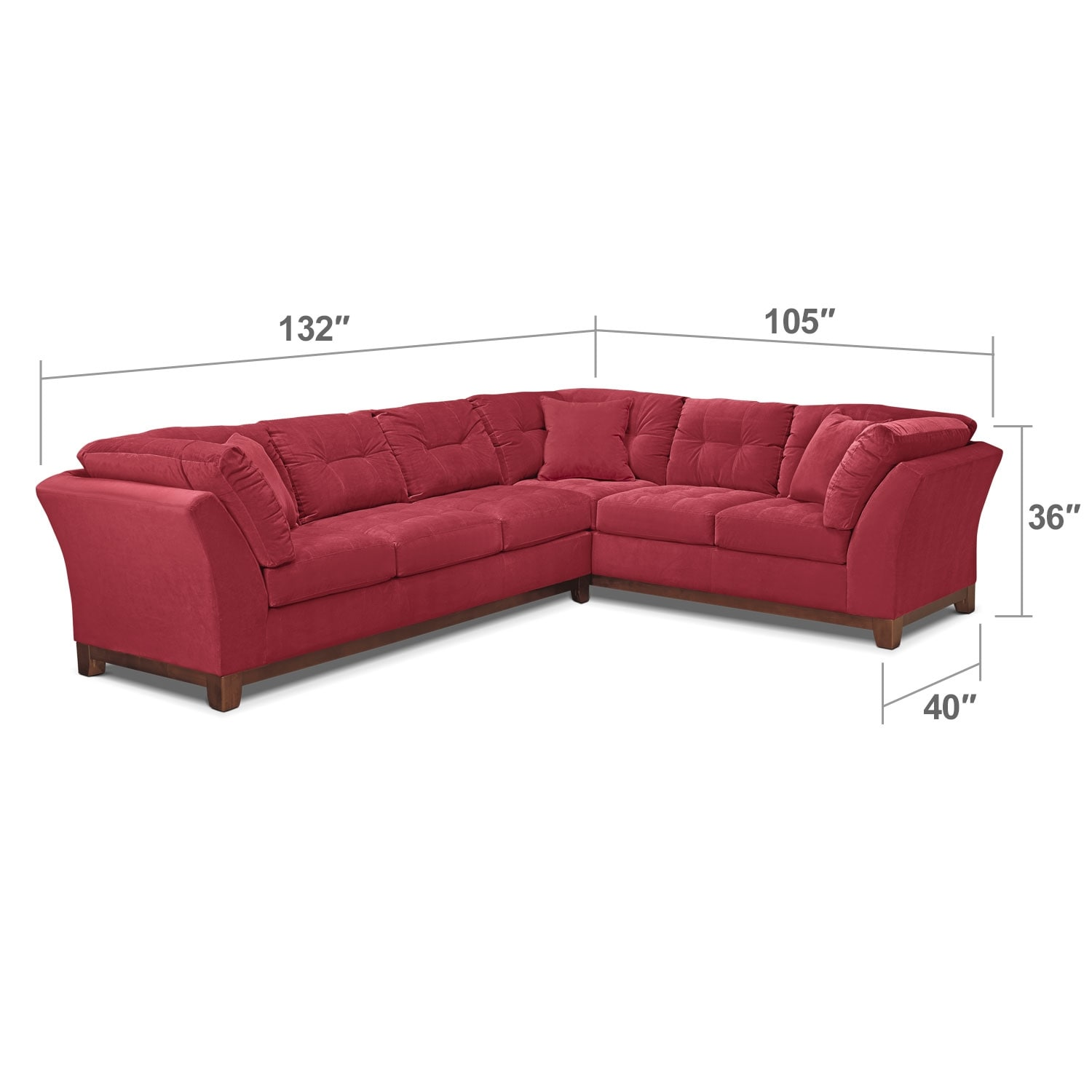 "Living Room Furniture - Solace 2-Piece Left-Facing 132"" Sofa Sectional - Poppy"