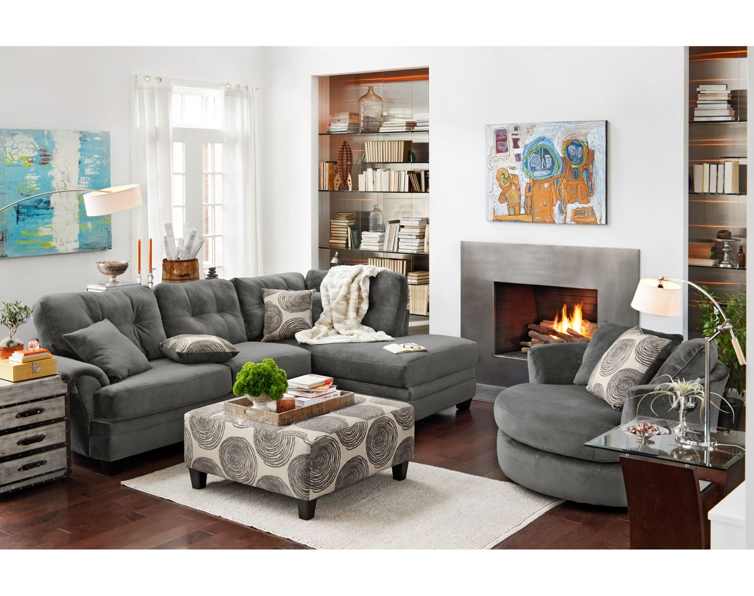 Value City Furniture Living Room The Cordelle Sectional Collection Gray Value City Furniture