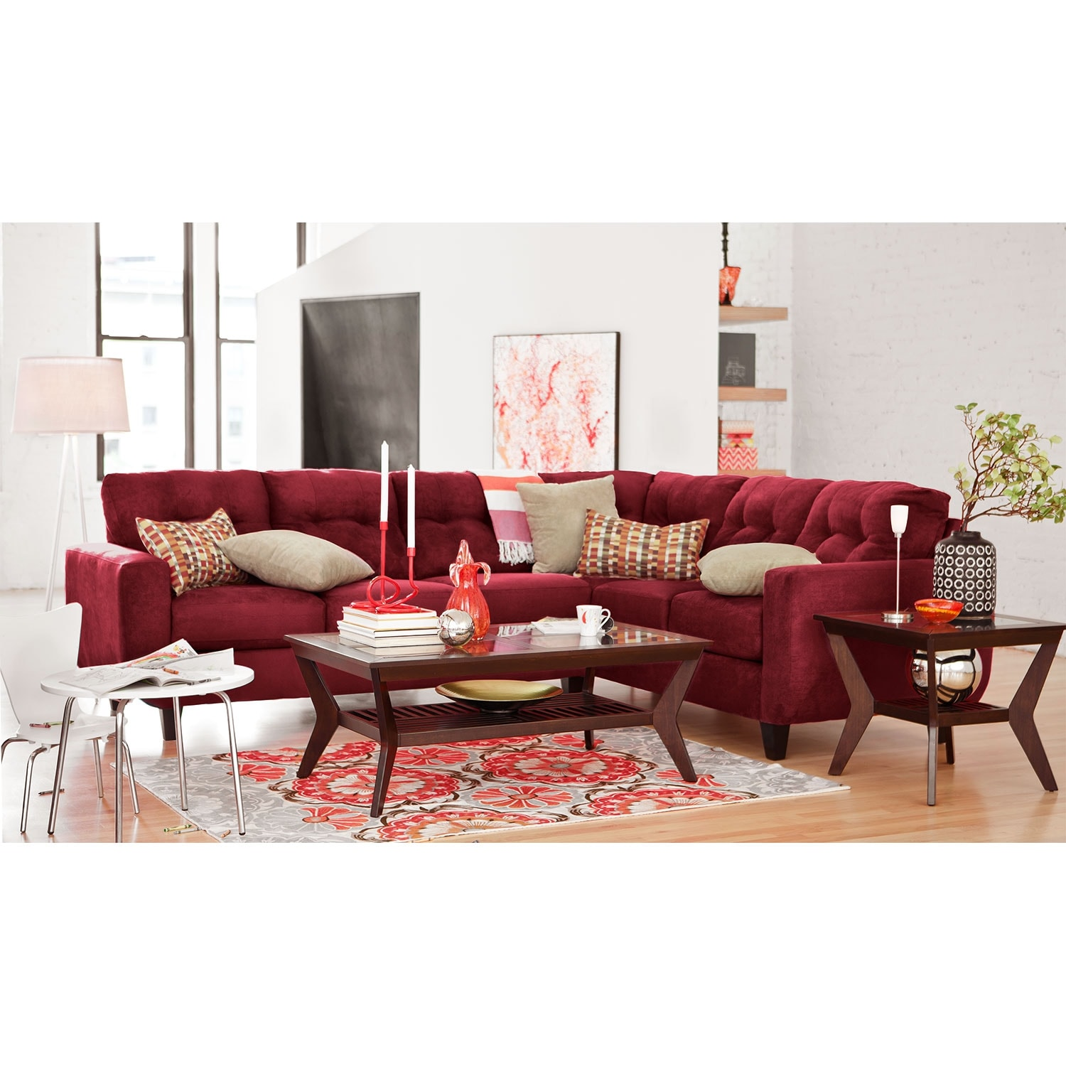 West Village 2 Piece Sectional Red
