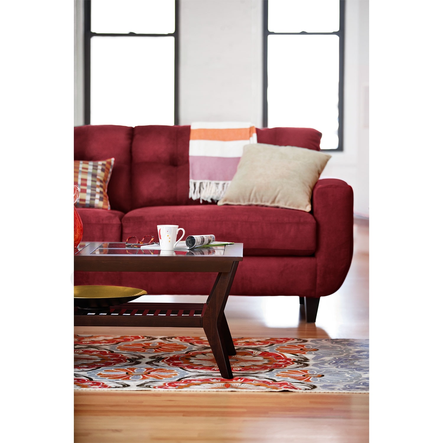 living room glass coffee table picture frame gallery wall white