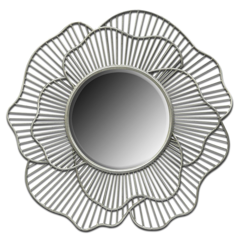 Flower Mirror - Antique Silver