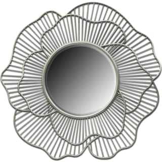 Flower Mirror - Antique Silver