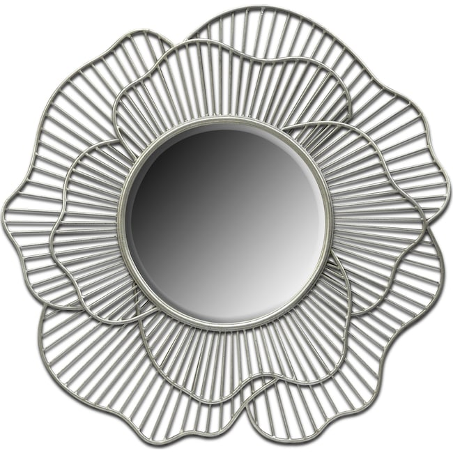 Accent and Occasional Furniture - Flower Mirror - Antique Silver