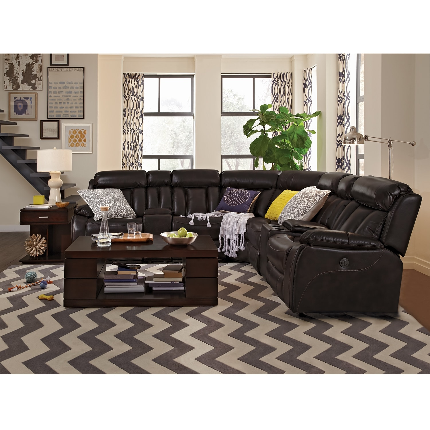 Sterling Gray Upholstered Casual Contemporary 7 Piece Room Group