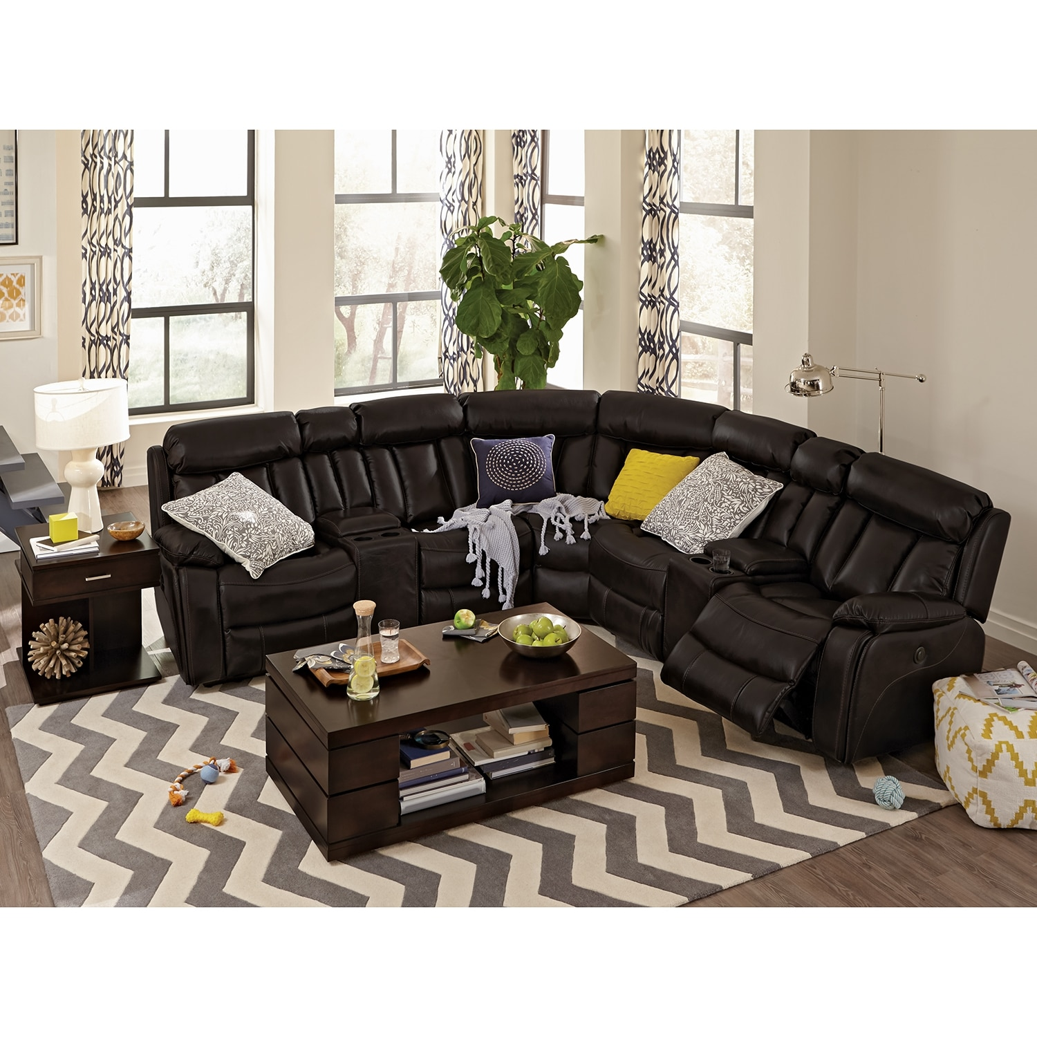 Walnut Furniture Living Room Diablo 7 Piece Power Reclining Sectional With Armless Power Chair