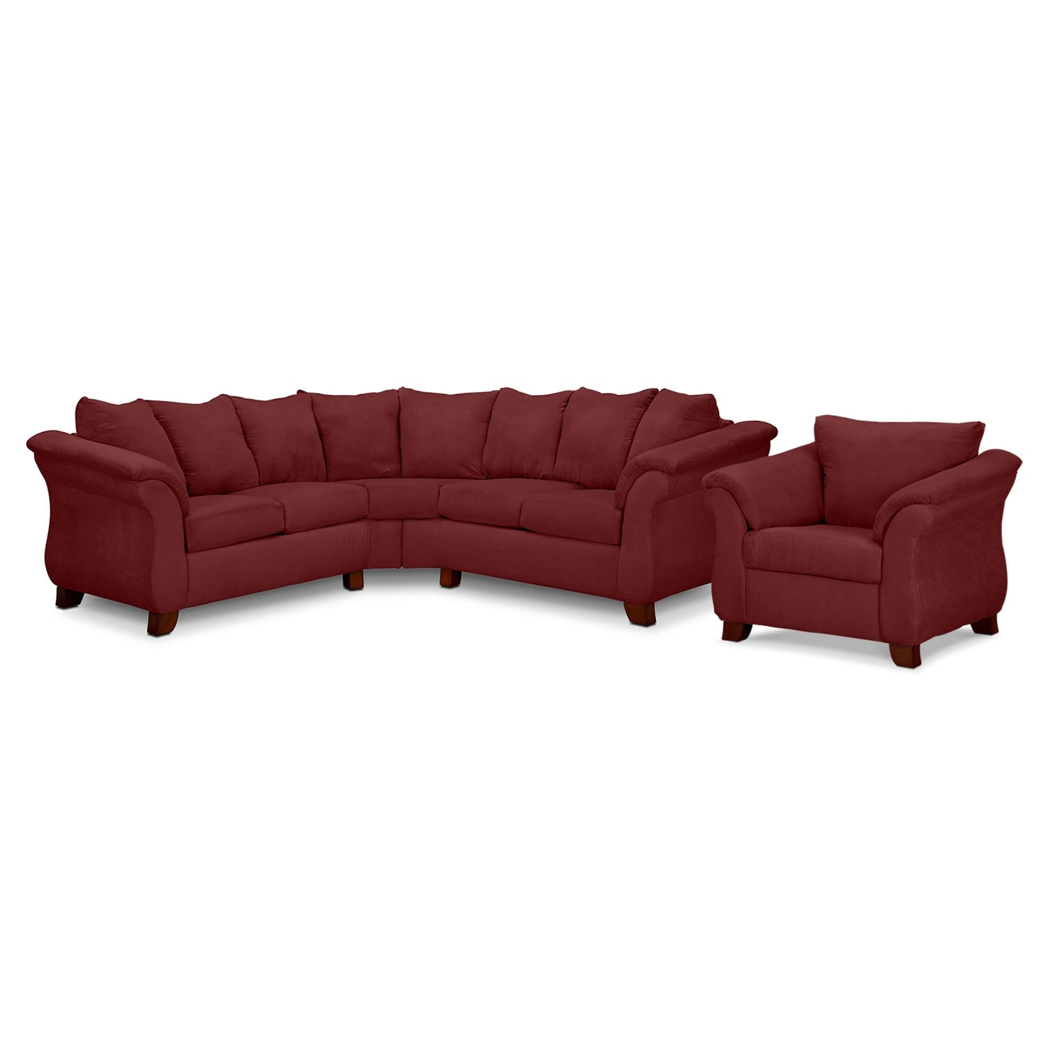 adrian red 2 piece sectional and chair set red value city