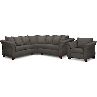 Adrian 2-Piece Sectional and Chair Set- Graphite
