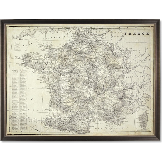 Home Accessories - Map of France Framed Print