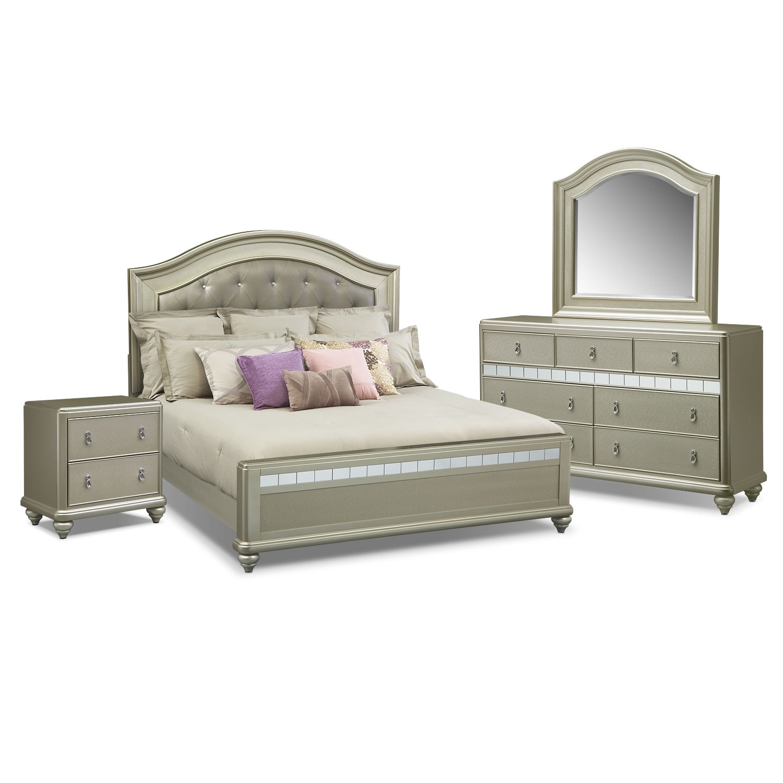 Bedroom Furniture - Serena King 6-Piece Bedroom Set- Platinum