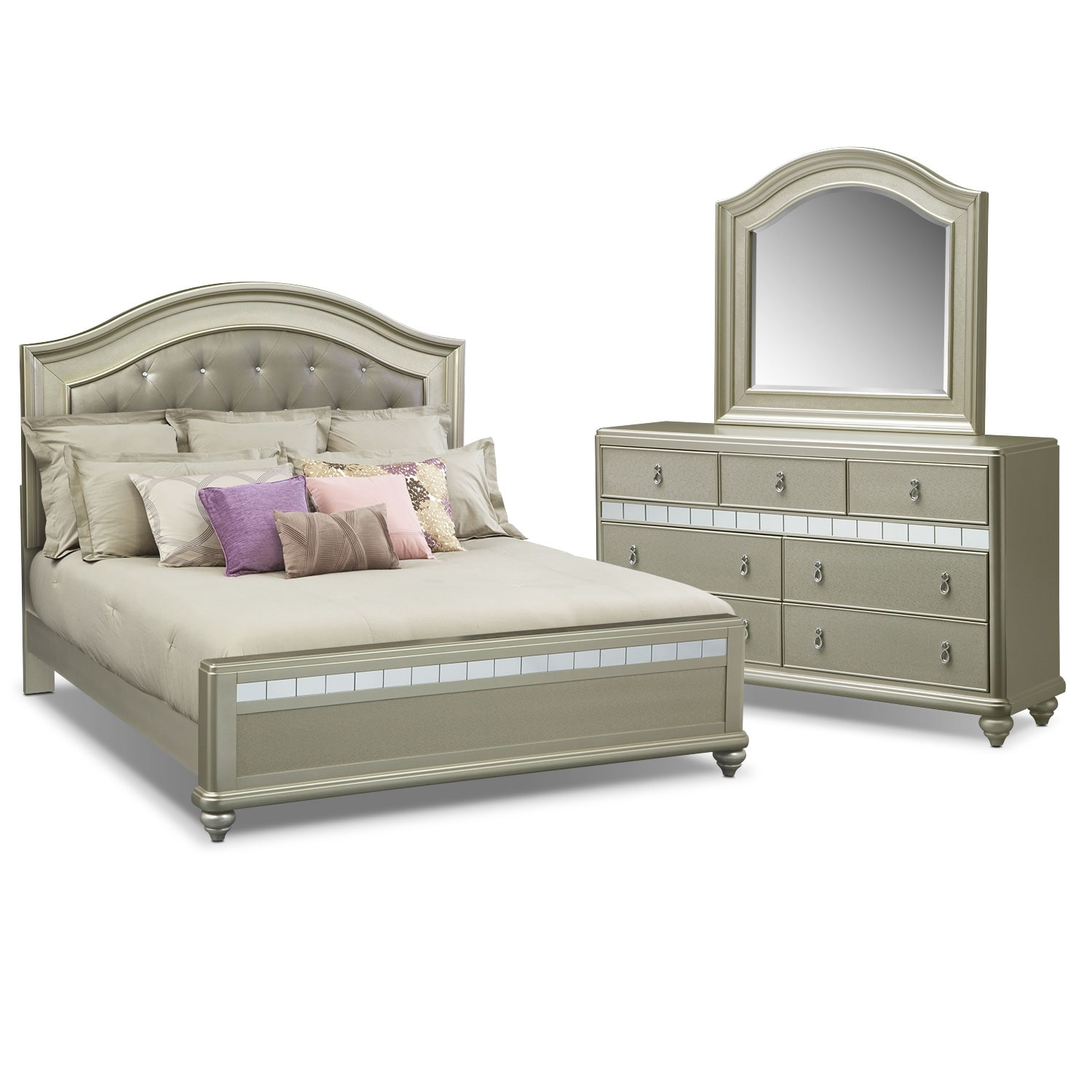 Serena King 5-Piece Bedroom Set - Platinum