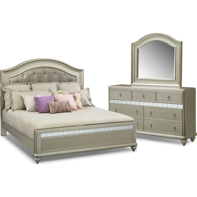 Bedroom Furniture - Serena King 5-Piece Bedroom Set - Platinum
