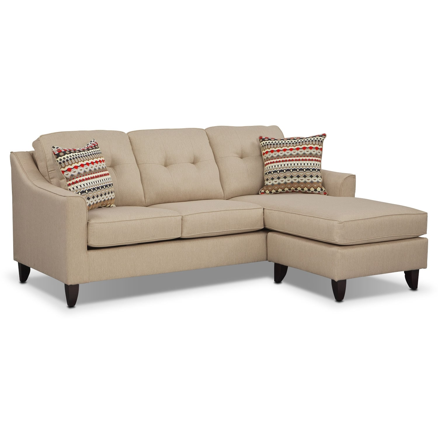 Living Room Furniture - Marco Cream Chaise Sofa