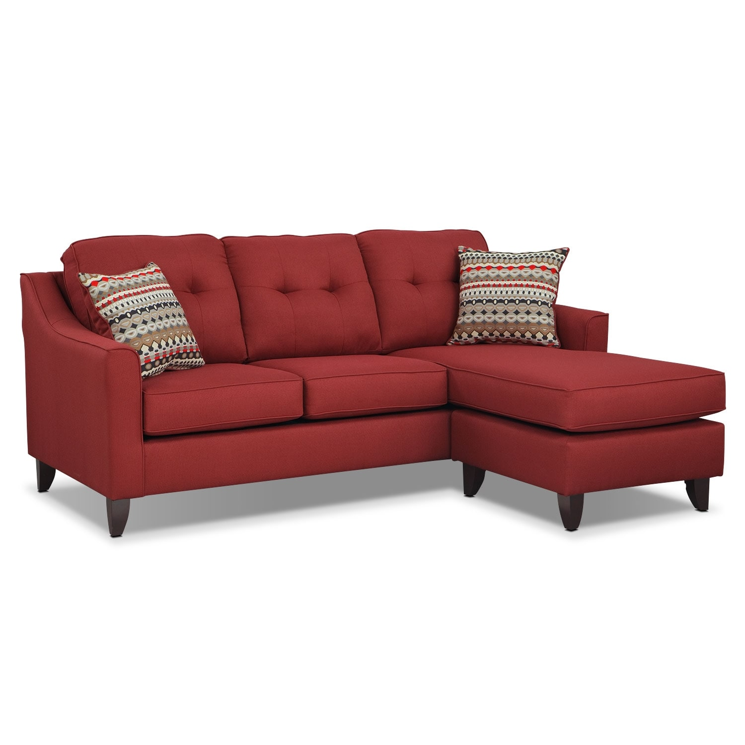 Living Room Furniture - Marco Red Chaise Sofa