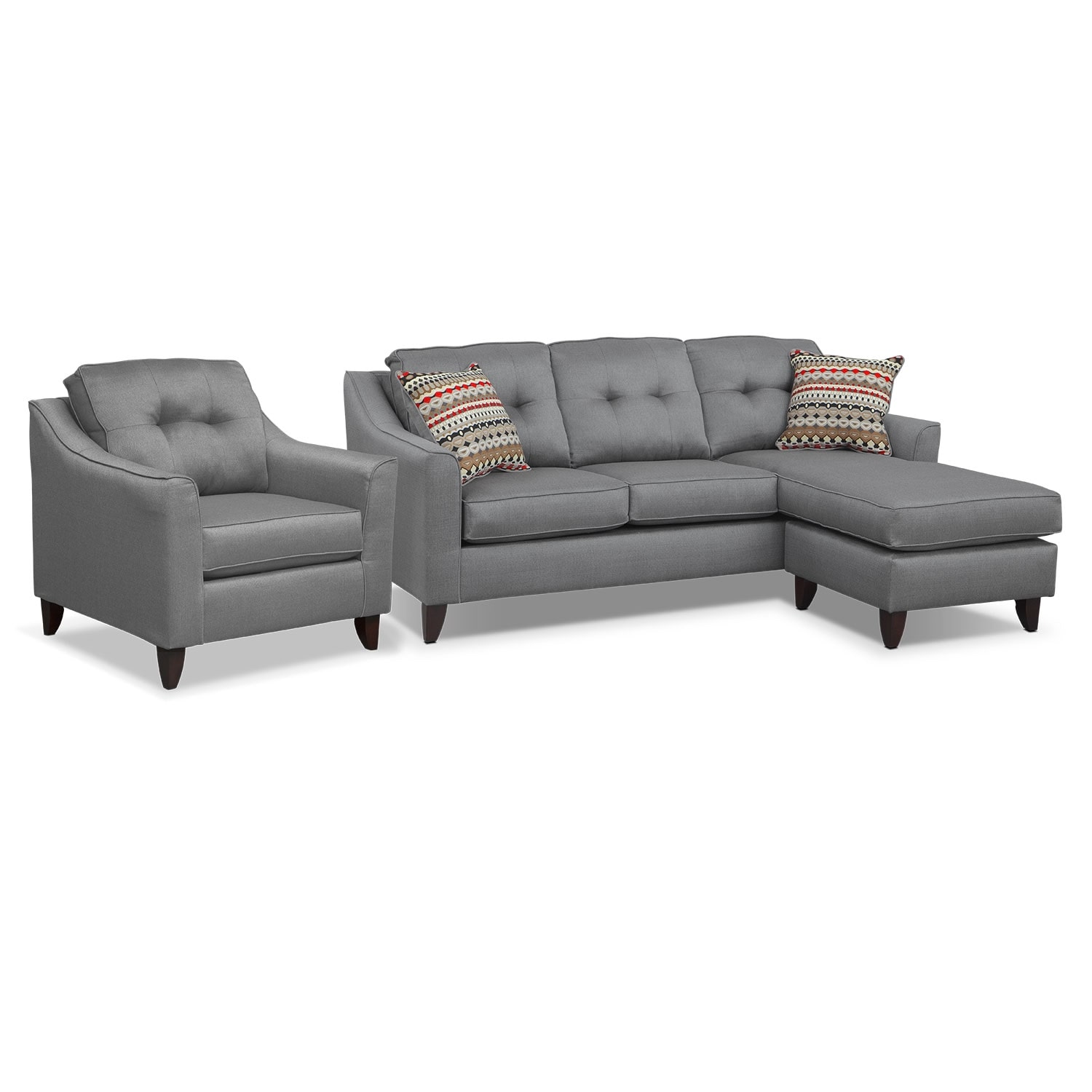 Marco Chaise Sofa and Chair Set Gray