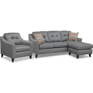 Marco Chaise Sofa and Chair Set - Gray