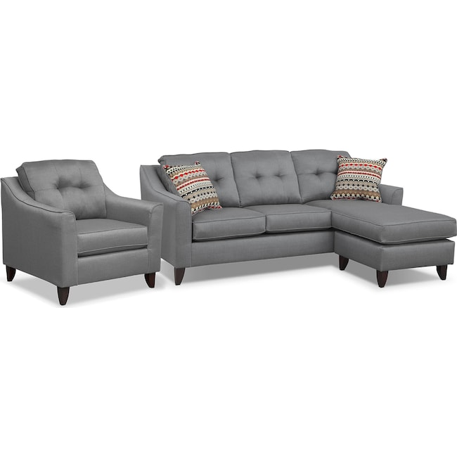 Living Room Furniture - Marco Chaise Sofa and Chair Set - Gray