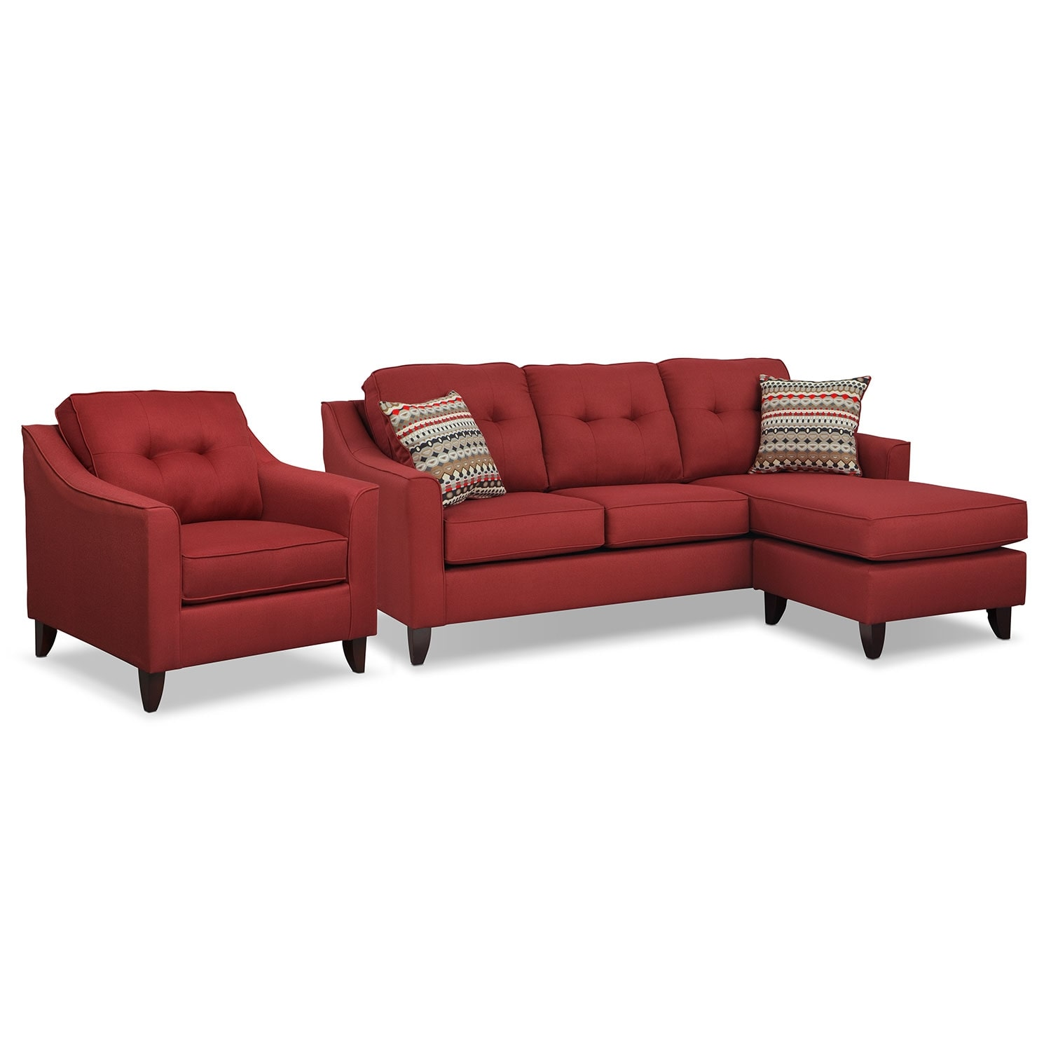 Marco Chaise Sofa and Chair Set - Red