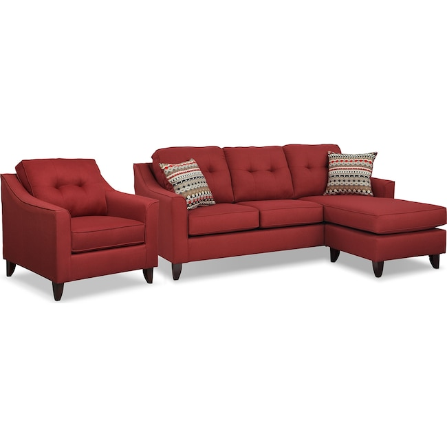 Living Room Furniture - Marco Chaise Sofa and Chair Set - Red