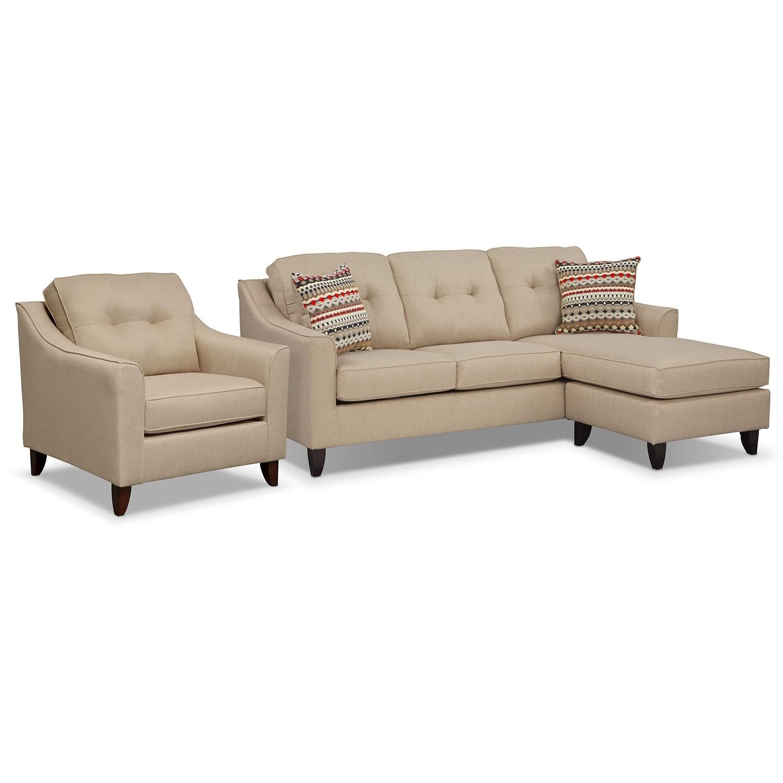 Marco Chaise Sofa and Chair Set - Cream