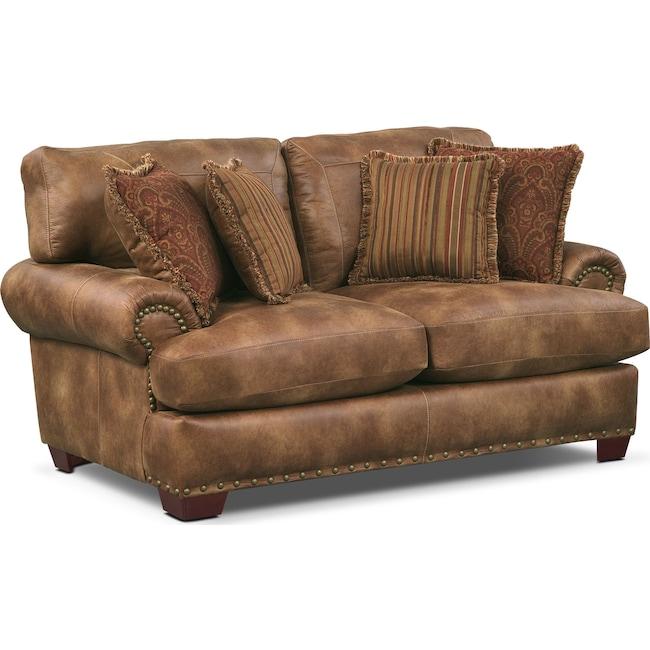 Living Room Furniture - Burlington Loveseat - Cognac
