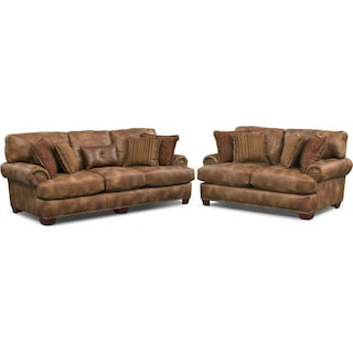 Burlington Sofa and Loveseat Set - Cognac