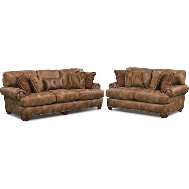 Living Room Furniture - Burlington Sofa and Loveseat Set - Cognac