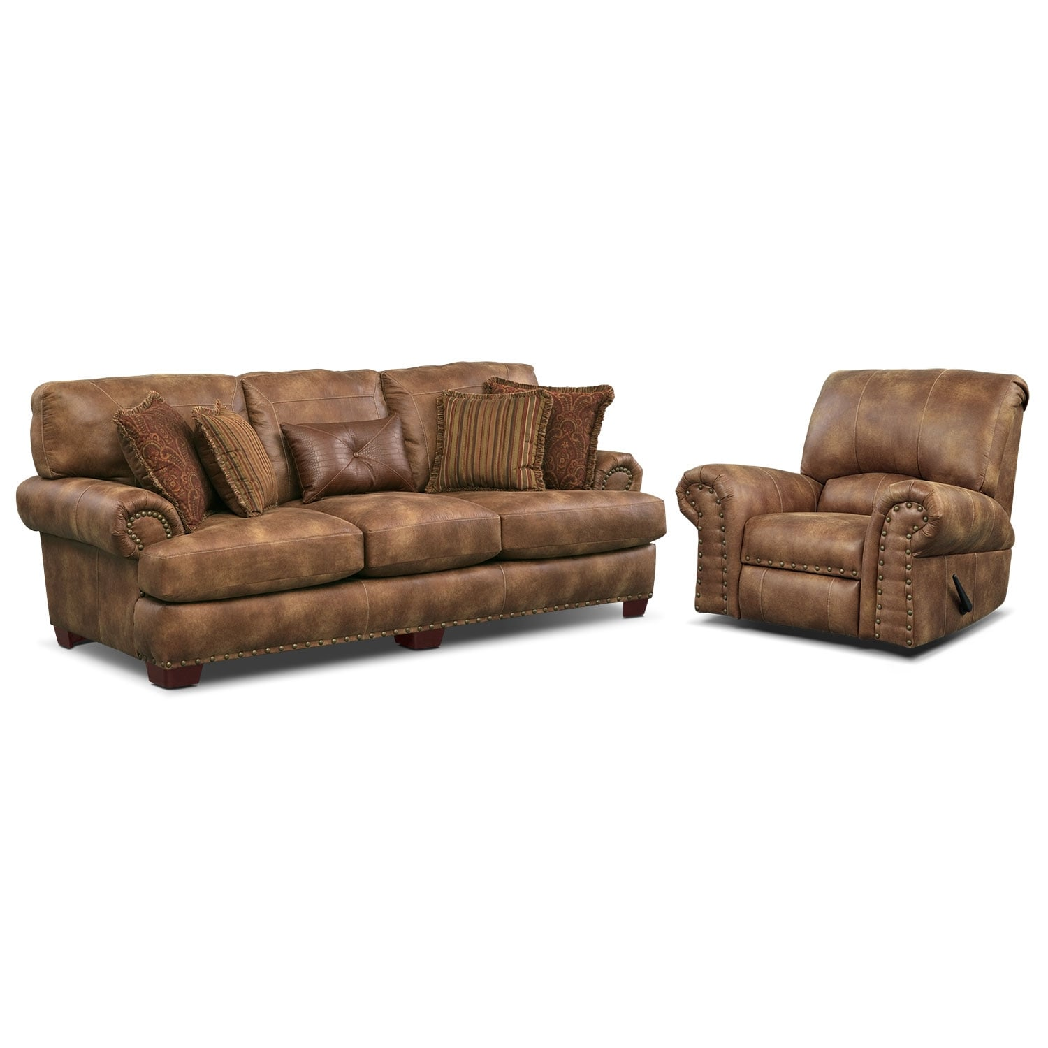 Living Room Furniture - Burlington Sofa and Recliner Set - Cognac