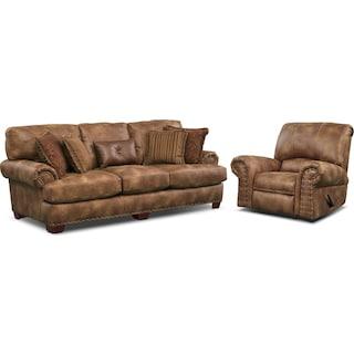 Burlington Sofa and Recliner Set - Cognac