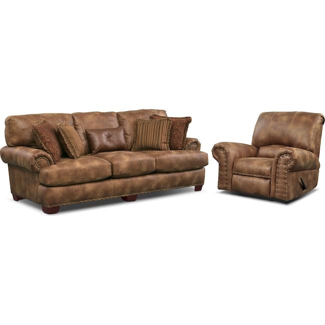 Living Room Furniture - Burlington Sofa and Recliner Set - Cognac