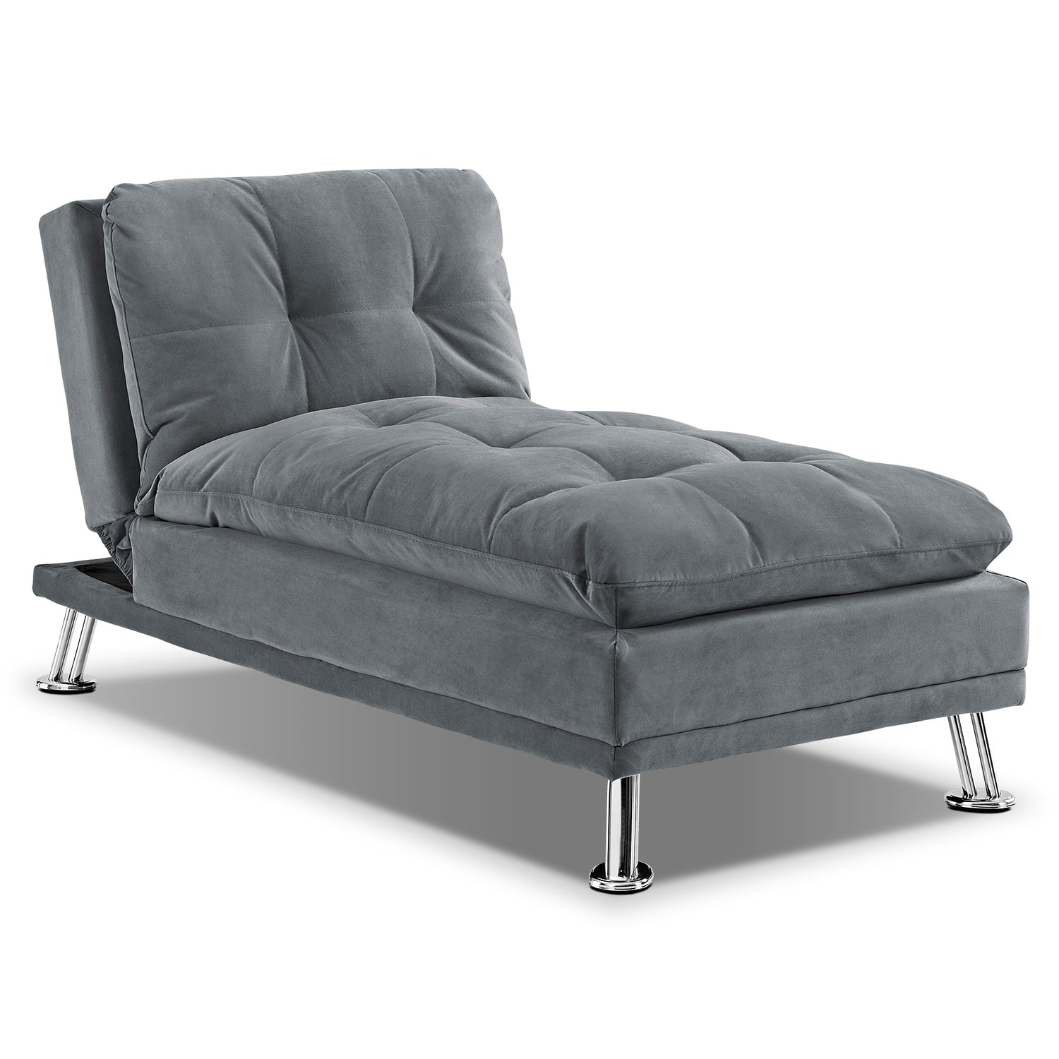 Waltz Futon Sofa Bed with Chaise Gray