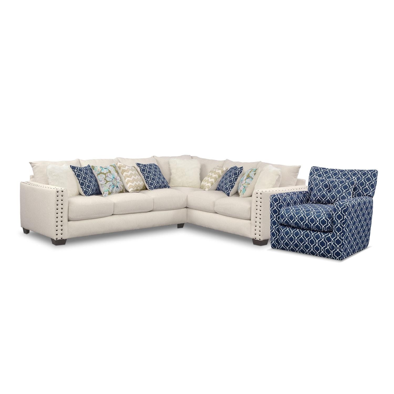 [Lolita 2 Pc. Innerspring Sleeper Sectional w/ Swivel Chair]