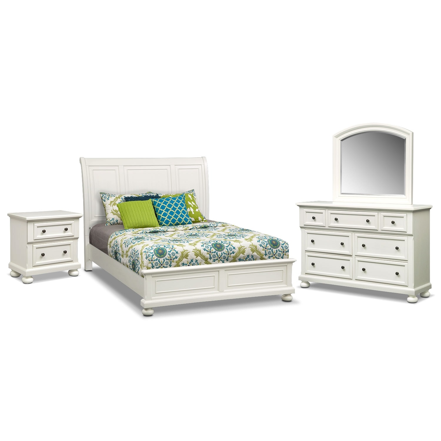 Hanover White 6 Pc. Queen Panel Bedroom Package