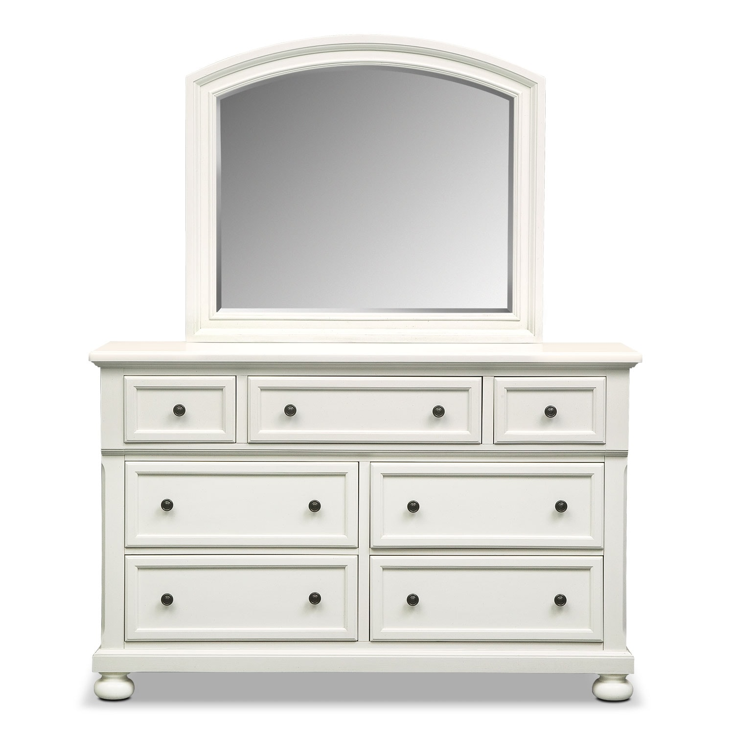 Bedroom Dressers With Mirrors: Hanover Dresser And Mirror - White