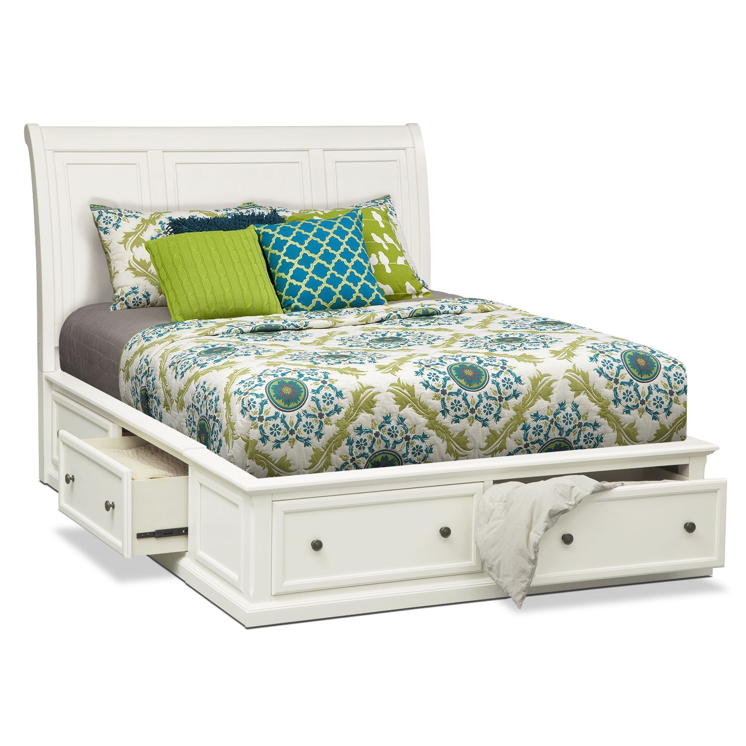Bedroom Sets With Storage Beds hanover 6-piece queen storage bedroom set - white | value city