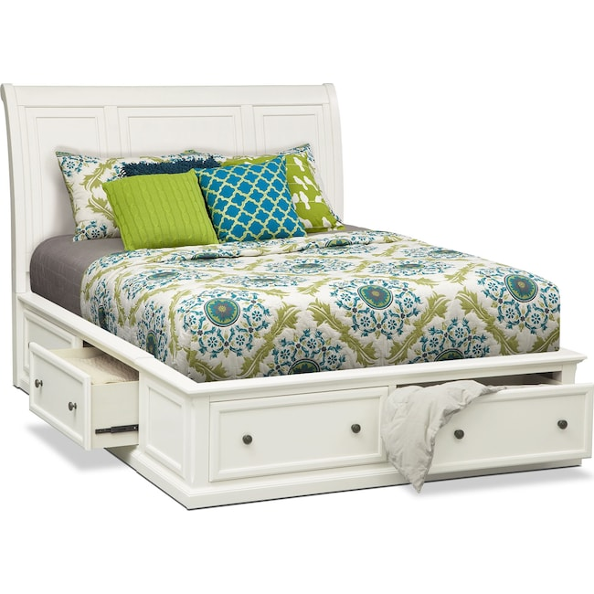 bedroom furniture hanover queen storage bed white