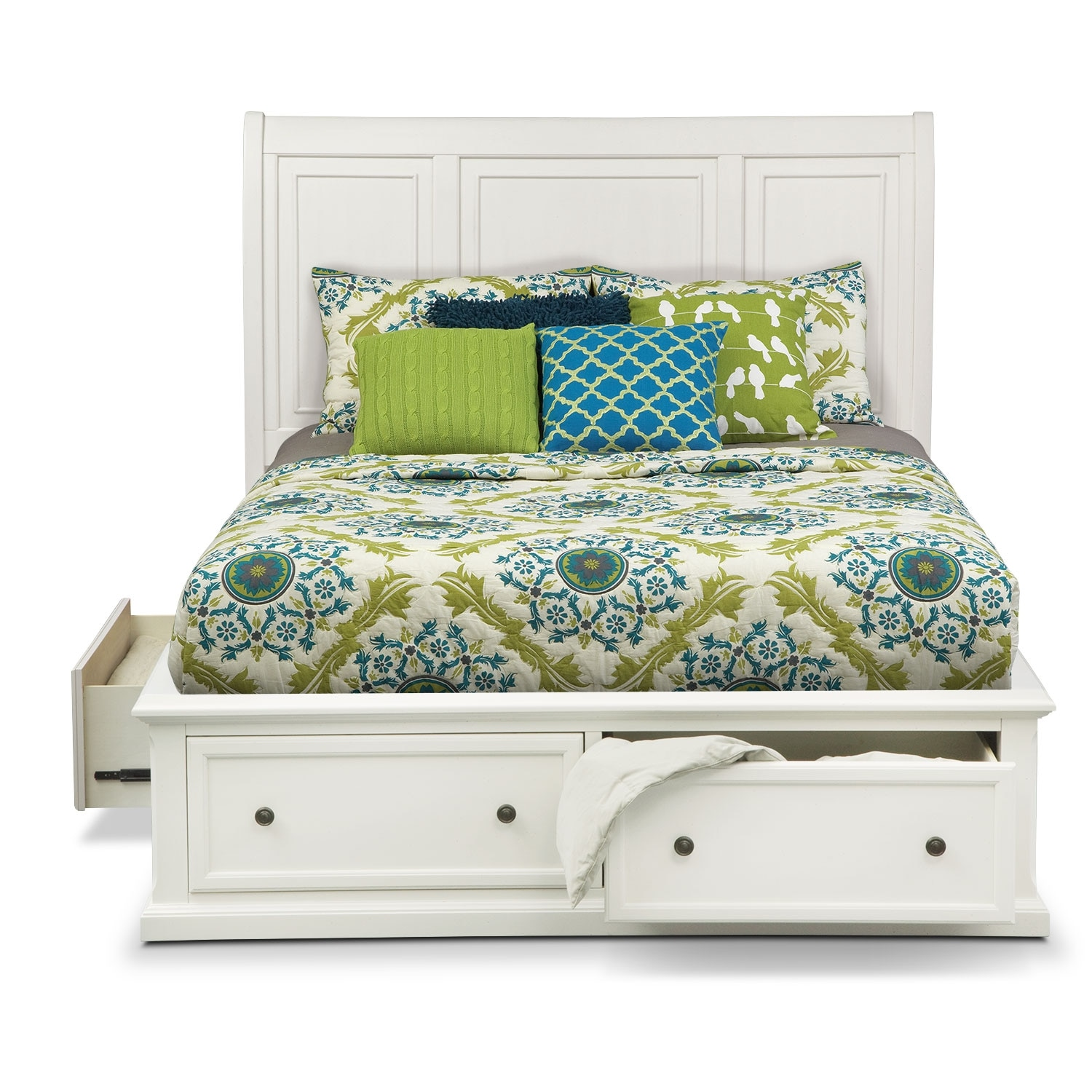 White queen bed with storage - Click To Change Image