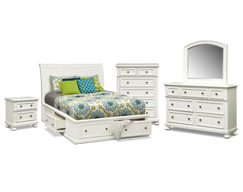 Bedroom Furniture - Hanover 7-Piece King Storage Bedroom - White