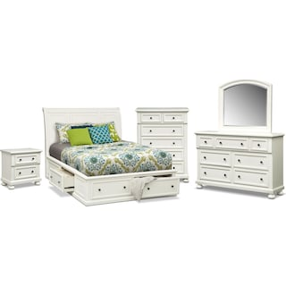 Hanover 7-Piece Queen Storage Bedroom - White