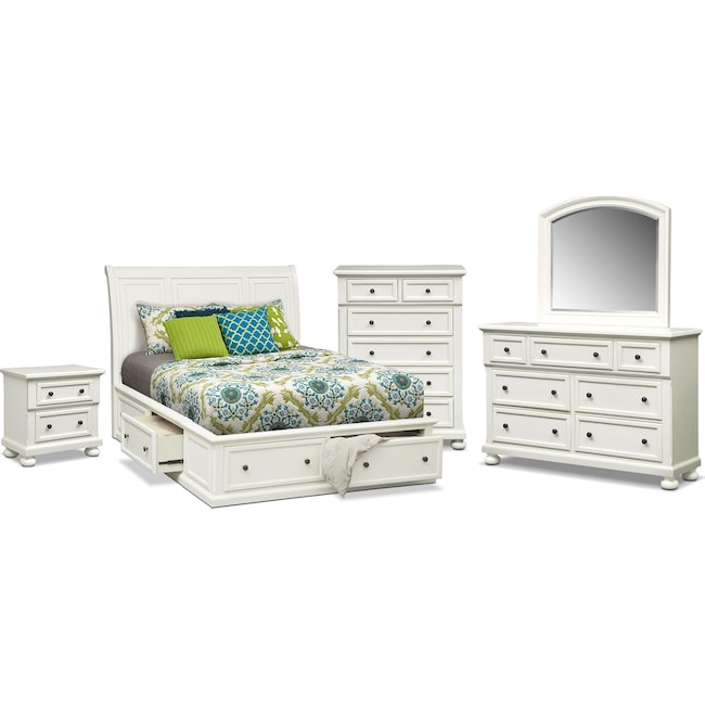 Bedroom Furniture - Hanover 7-Piece King Storage Bedroom - White