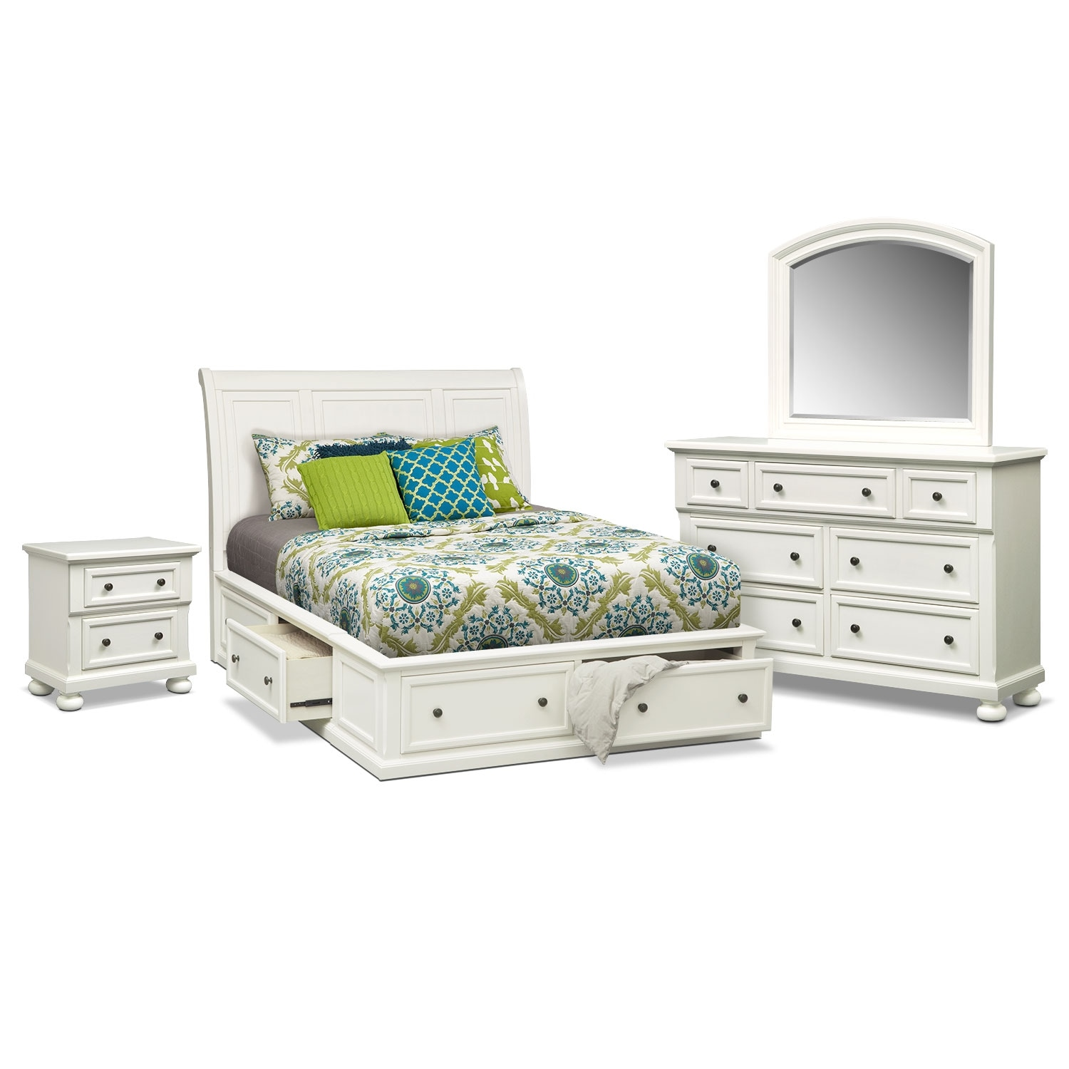 Bedroom Furniture - Hanover White 6 Pc. King Storage Bedroom Package